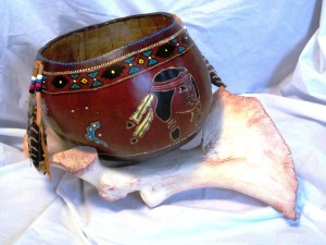 Large native Gourd Bowl with Shoulder blade bone rest